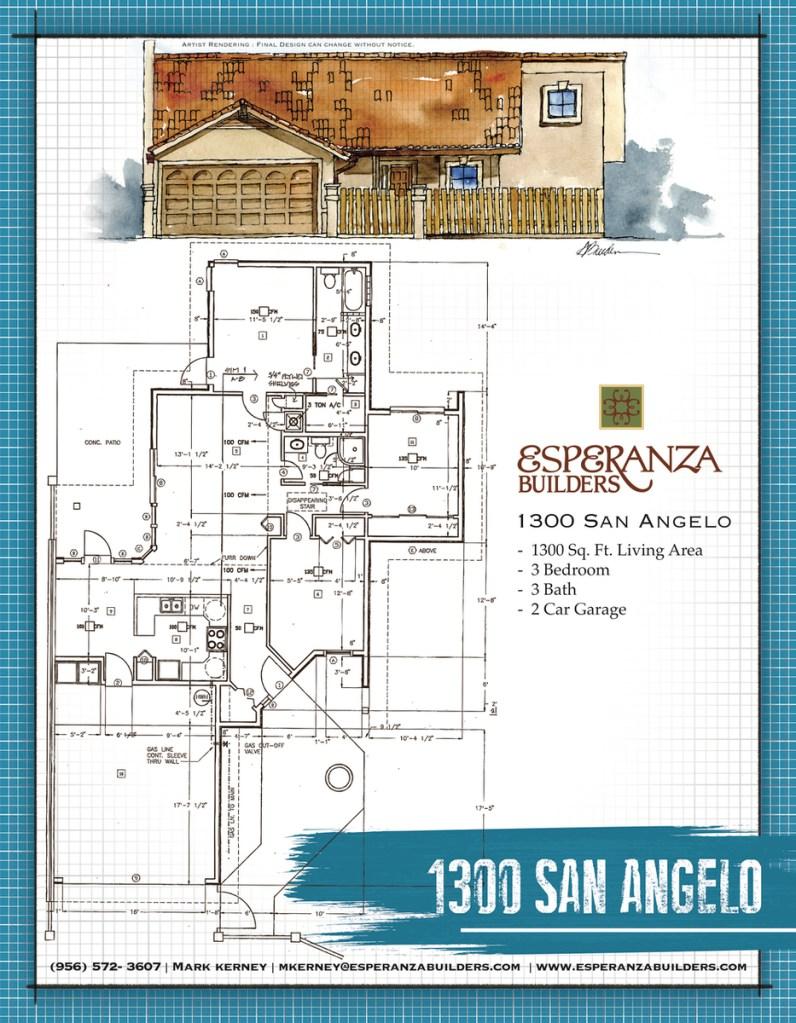 Artist rendering and floorplan for 1300 San Angelo at River Bend Resort & Golf Club